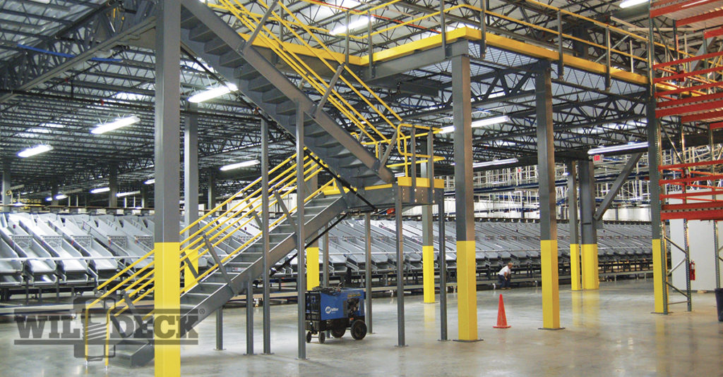Wildeck Mezzanine in a Distribution Center with Staircase